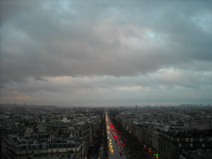View from the Arc de Triomphe across the Champs-Elysees.