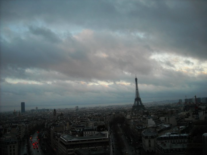 View from the Arc de Triomphe across to the Eiffel Tower