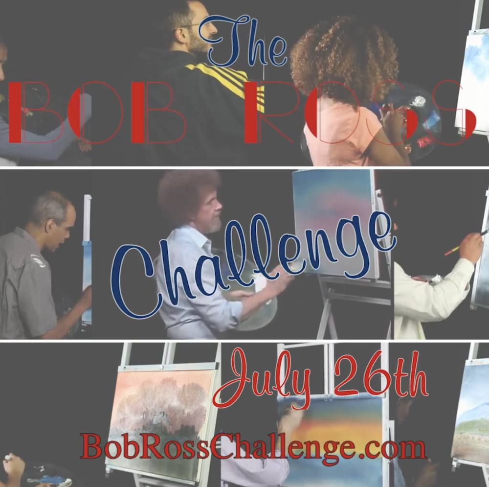 Jen Clark takes the bob ross challenge - real people paint along with Bob Ross in real time...pls consider a small donation to the Leukemia & Lymphoma Society at https://crowdrise.com/BobRossChallenge.