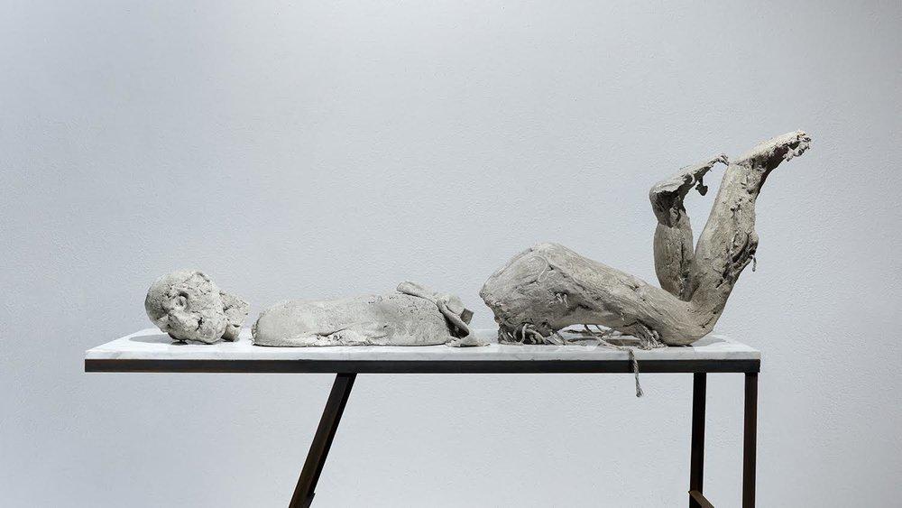 BODY OF UNCERTAIN AFFINITIES concrete, mops, burlap, marble, steel, 201
