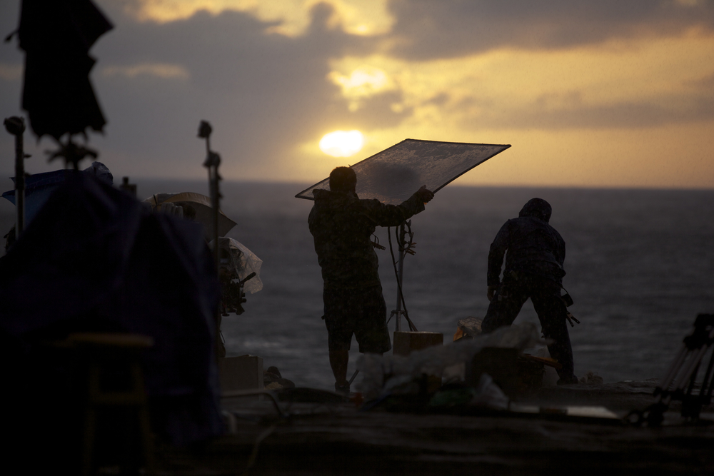 The crew set up one final shot before the sun goes down. (Photo: Ashley Smith)