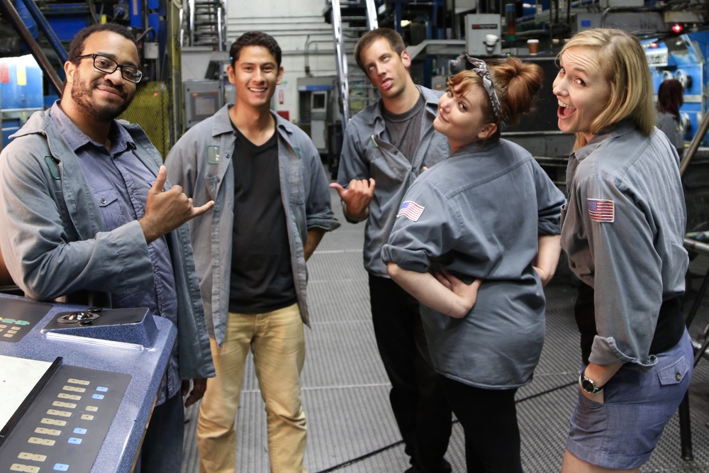 The cast of Night Shift takes a quick break from character for a group shot. (Photo: Dan Zelikman)
