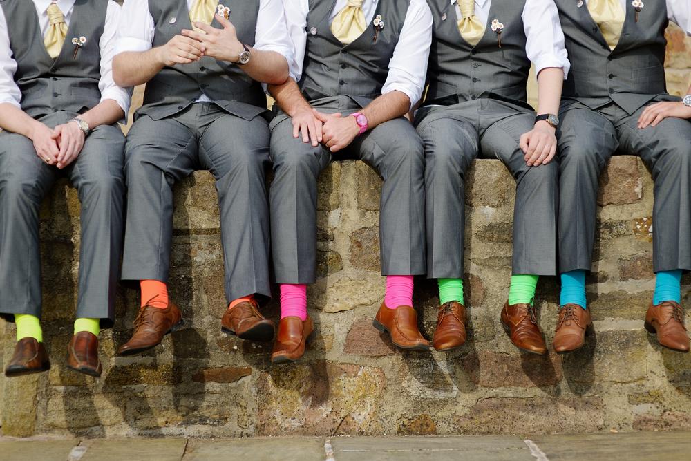 Groomsmen in colourful socks