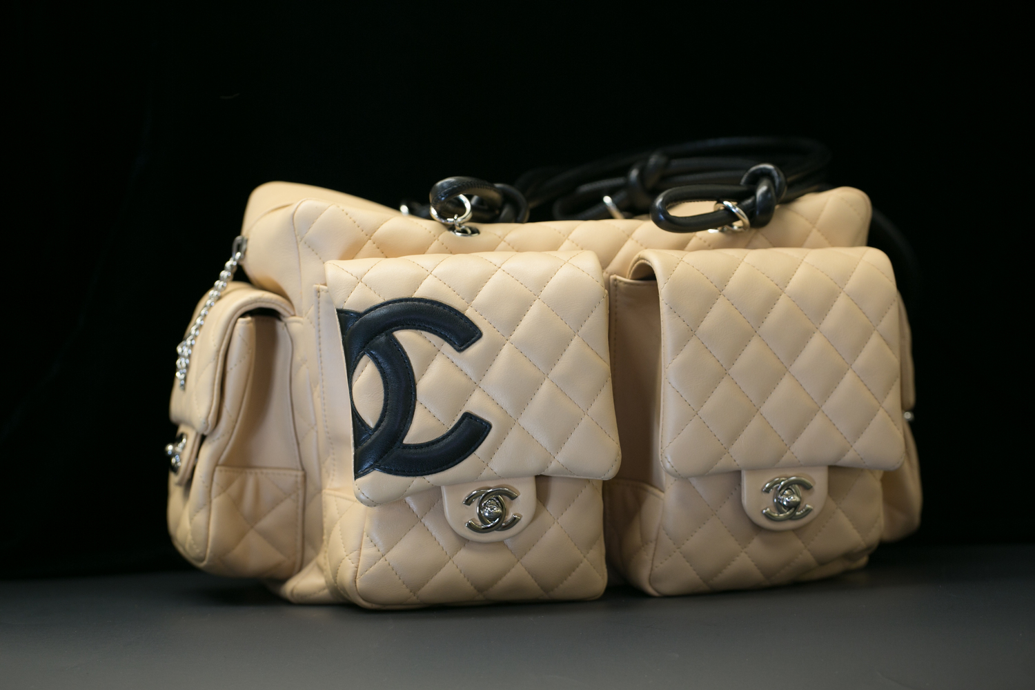 c3f62cc0fd20 Chanel Beige/Black Quilted Ligne Cambon Reporter Bag — New York Diamond  Center