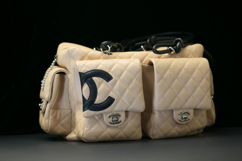 c3f62cc0fd20 Chanel Beige/Black Quilted Ligne Cambon Reporter Bag — New York Diamond  Center