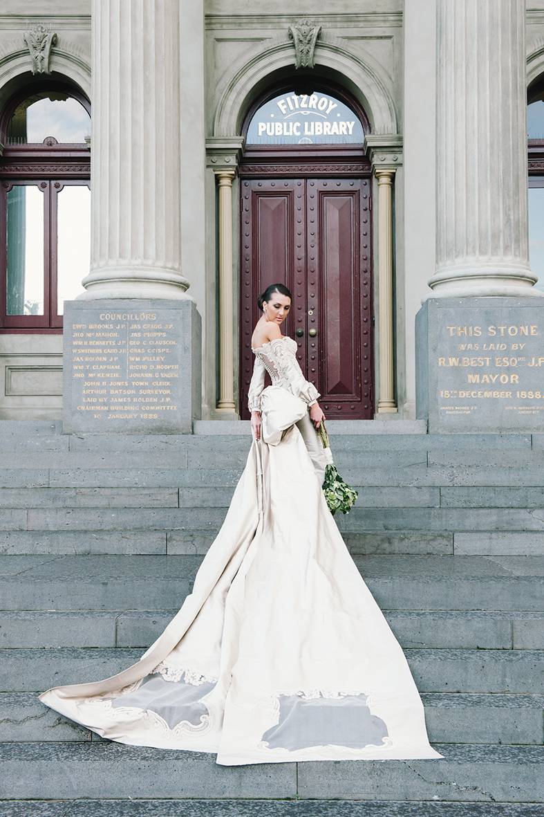 01.  SIGNOR MONT    .       Signor Mont custom designed this high-class gown for bride Ruby. It reflects elegance and highlights a true essence of bold romance.