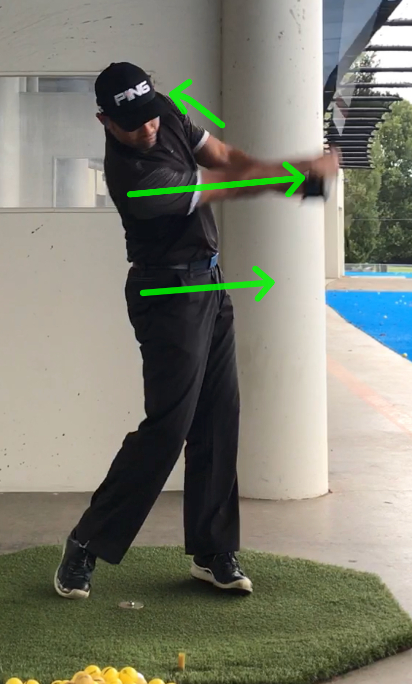 Left arms stays connected and rotates out of the way as right arm drives through