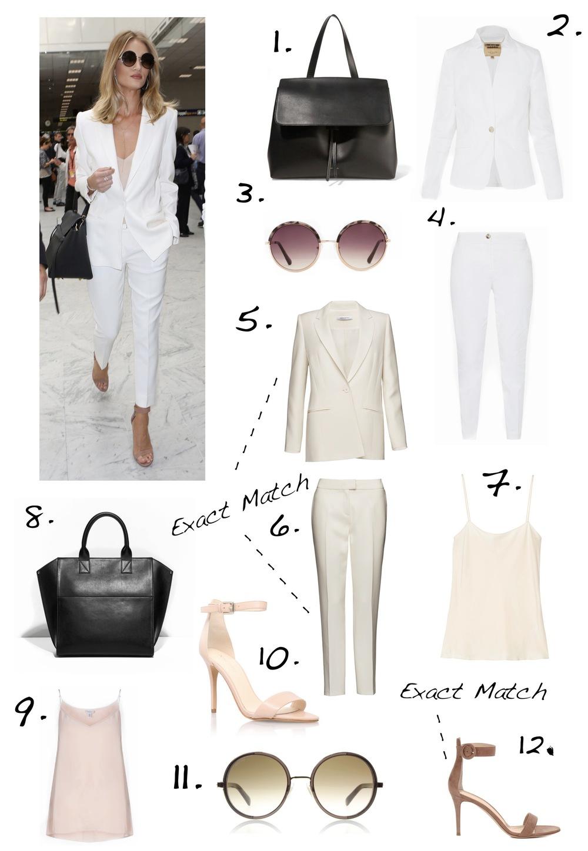 Rosie Huntington Whiteley white suit airport