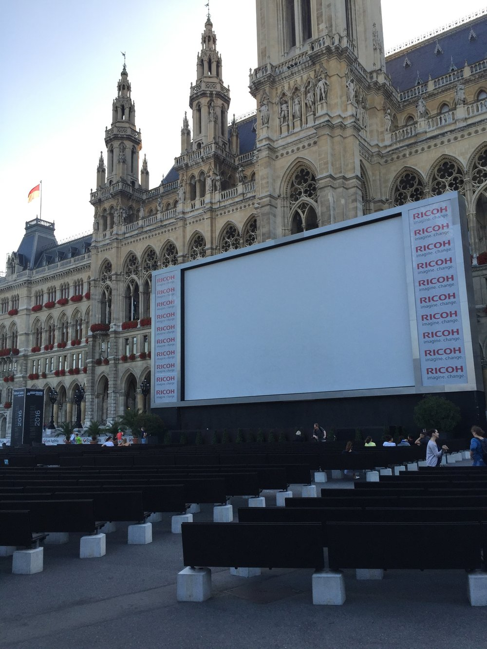 The outdoor film festival at the  Rathausplatz.