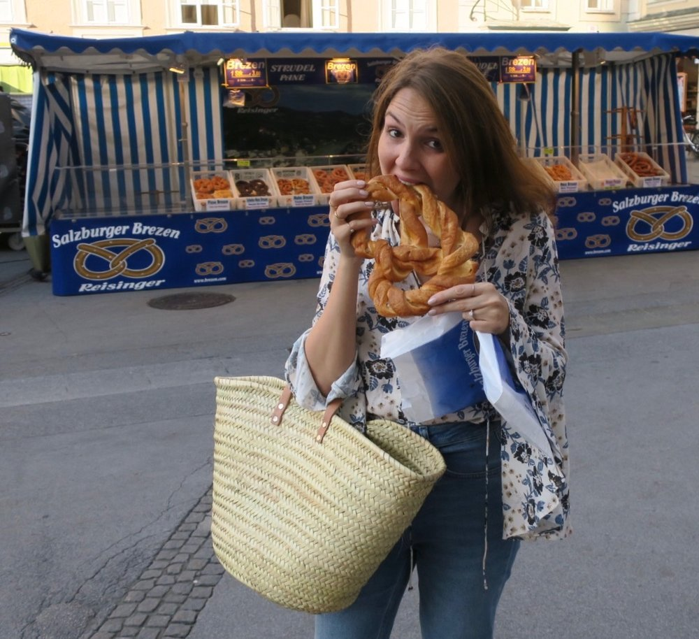 Pretzel heaven at the Salzburg market.