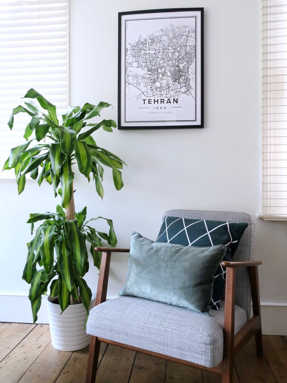 Map Print -  MAPIFUL , Chair -  IKEA , Printed Cushion -  H&M , Velvet Cushion -  TK MAXX