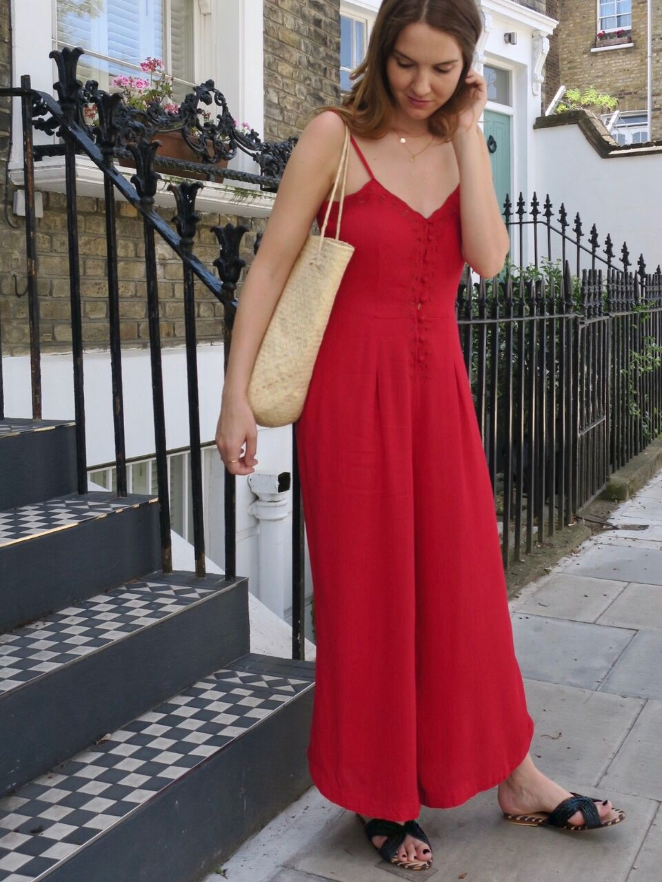 THE GROWN UP EDIT - Red Jumpsuit Basket Bag