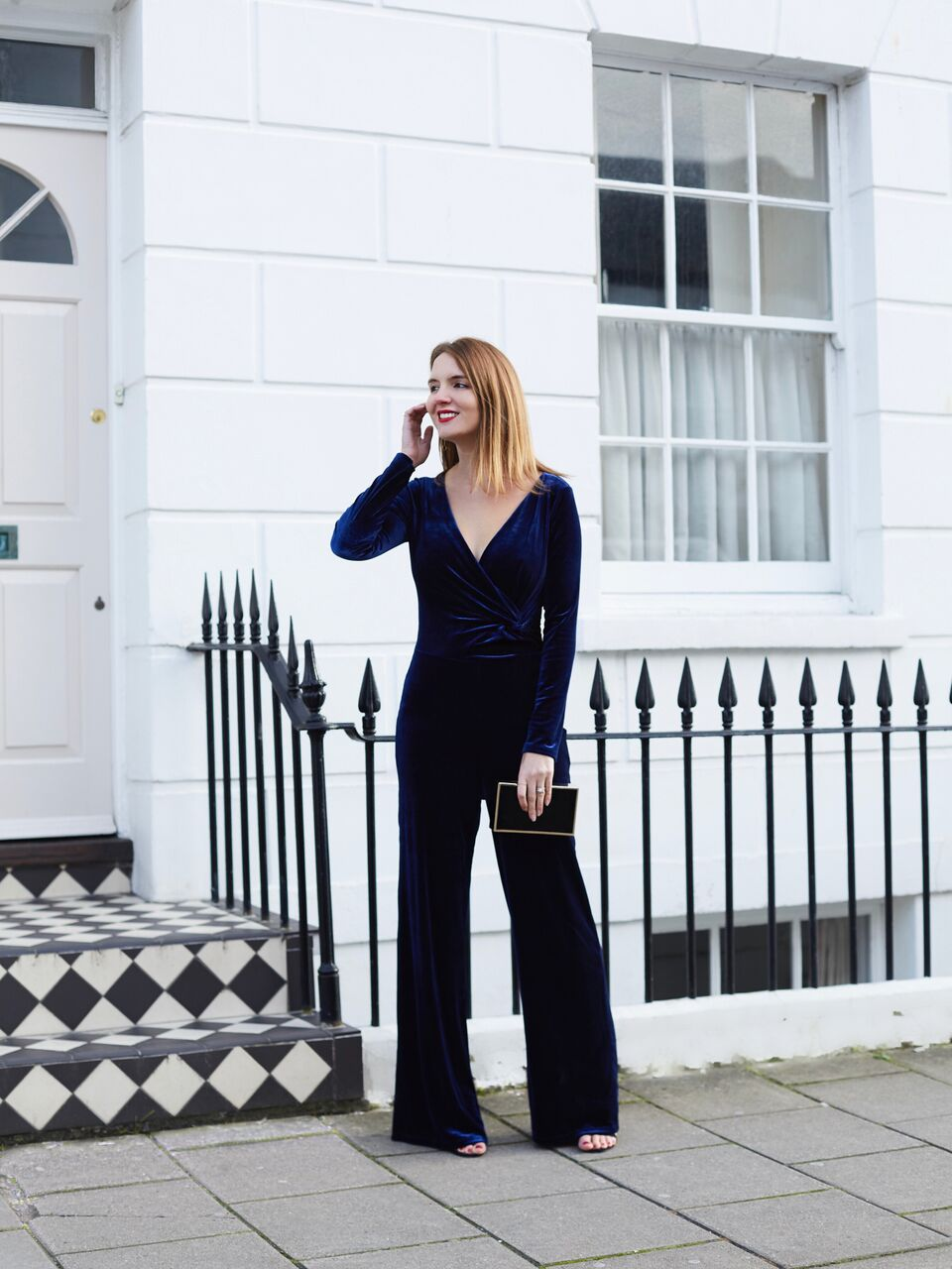 THE GROWN UP EDIT - Finery Blue Velvet Jumpsuit