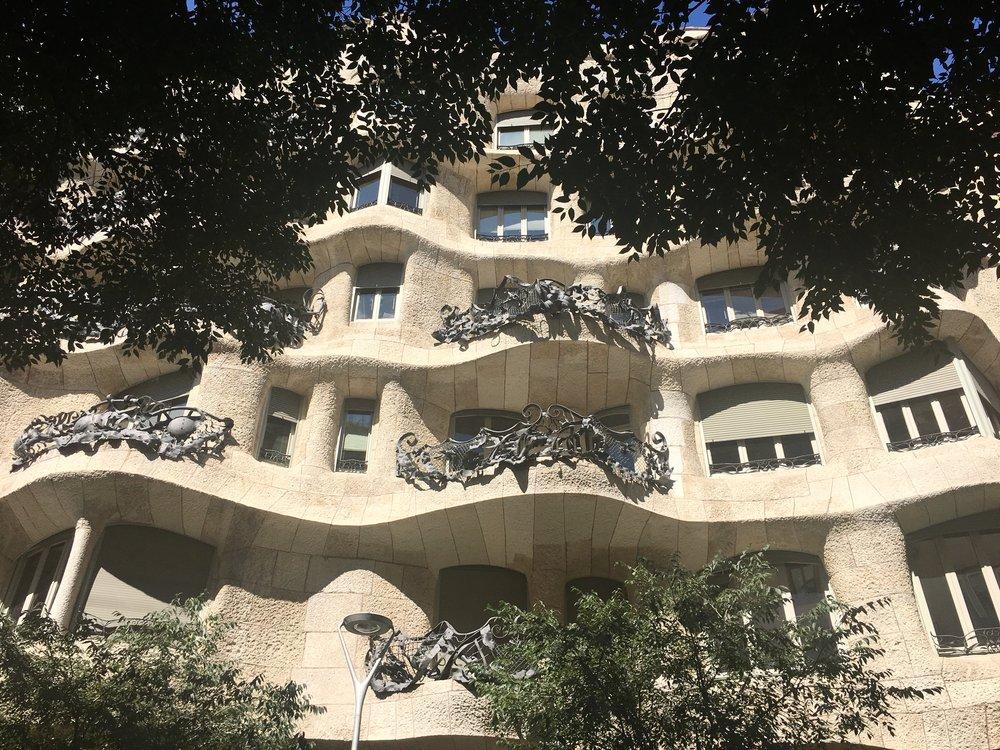 Antoni Gaudi's famous Casa Mila building on Passeig de Gracia.