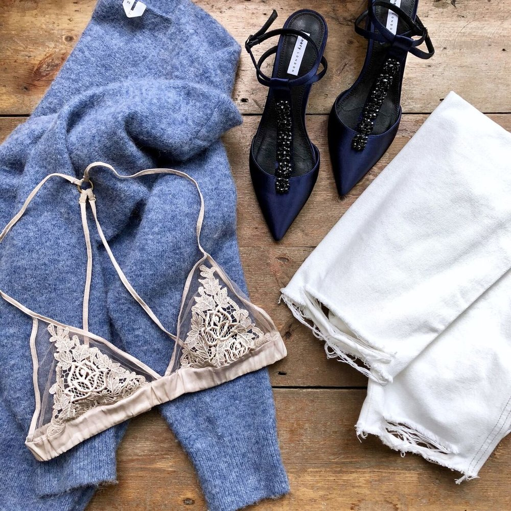 Jumper  ARKET was £79 now £55 , Bra  FLEUR OF ENGLAND was £95 now £66.50 , Jeans  ASOS MATERNITY were £32 now £16 , Shoes  FINERY LONDON were £99 now £49