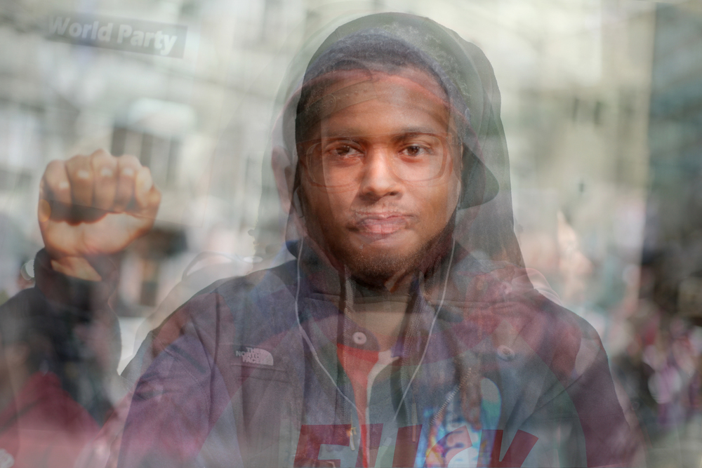 This photo is a composite of ten portraits of young black men at an Oakland rally to protest the acquittal of George Zimmerman on July 13, 2013.