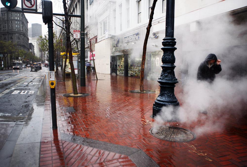 Rain hit San Francisco on March 24, 2011.