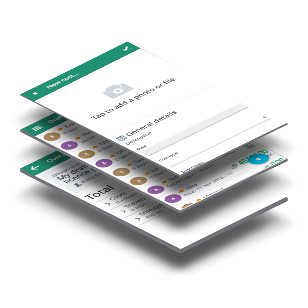 software screens - digital expense handling mobile