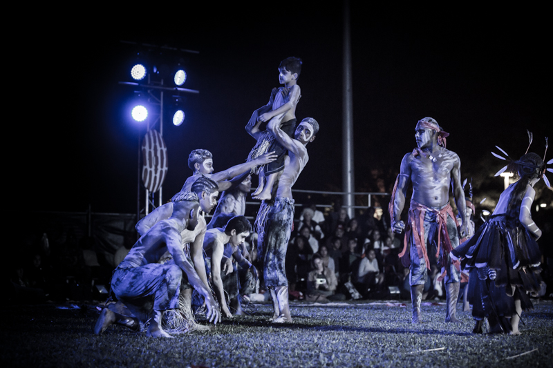 Bayal buri waakuja  (men's fire dance). 2018 Photo by Mimi Tannaka. Courtesy of Pauline Lampton