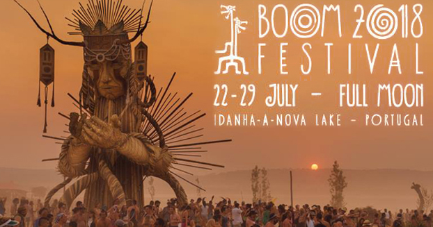 BOOM festival advertisement listing the date (22nd Jul-29th July) and location (Portugal)