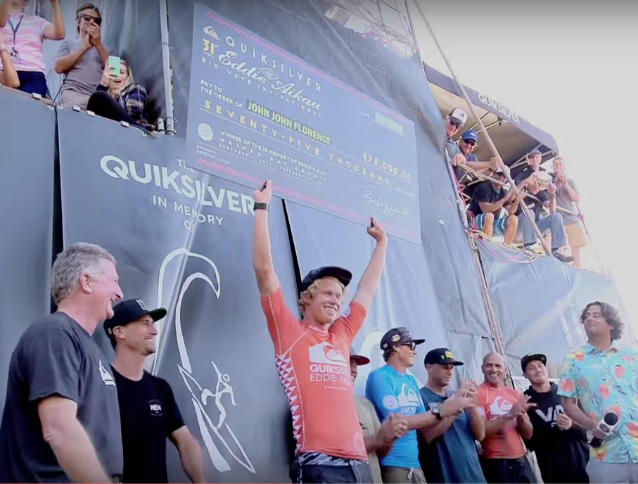 John John Florence celebrating his huge win at the 2016 Eddie
