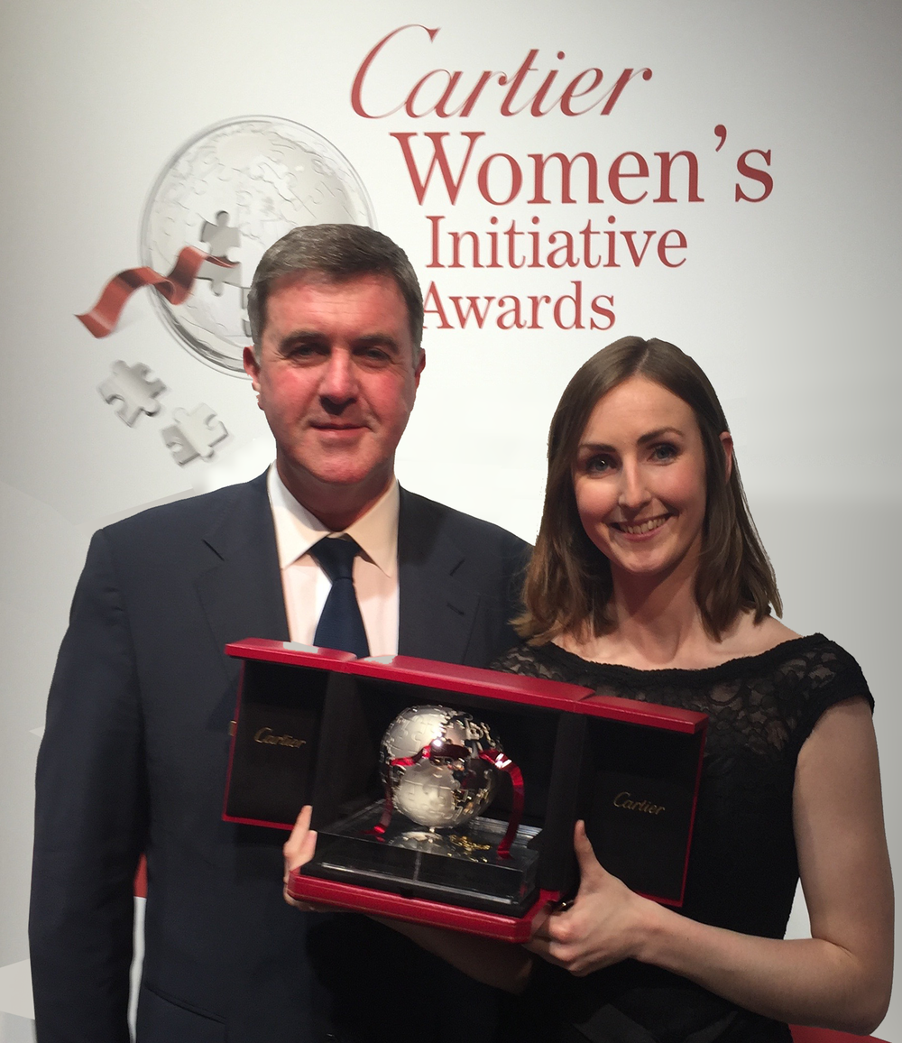 Sean Melly, Chairman & Ciara Clancy, CEO/Founder, Beats Medical. Receiving Cartier European female entrepreneur award, Paris