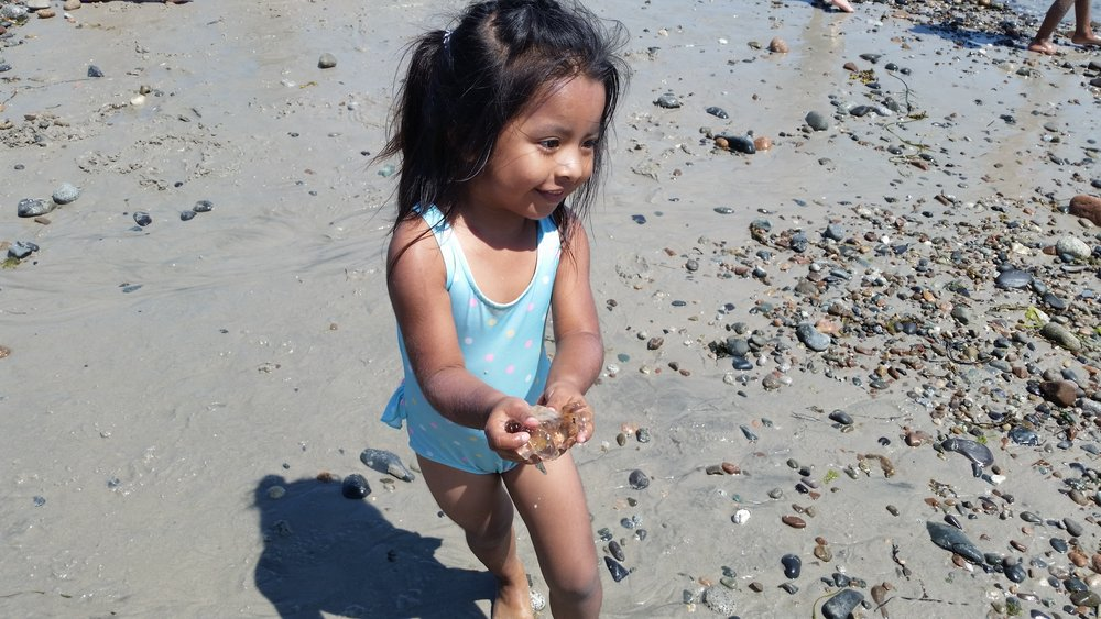 A Pre-K student enjoying the feeling of the dead jellyfish she found on the beach