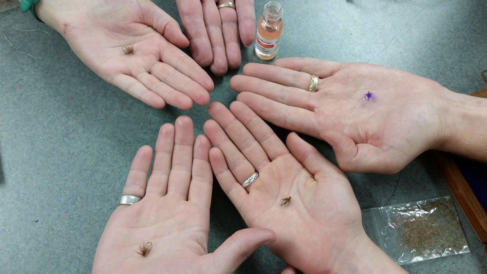 Fly-tying workshop participants' hand-tied flies
