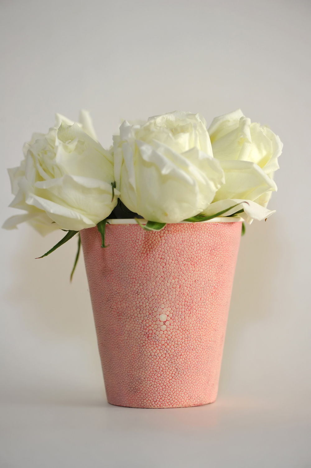 Pink Shagreen Vase with Bone Detail- $450