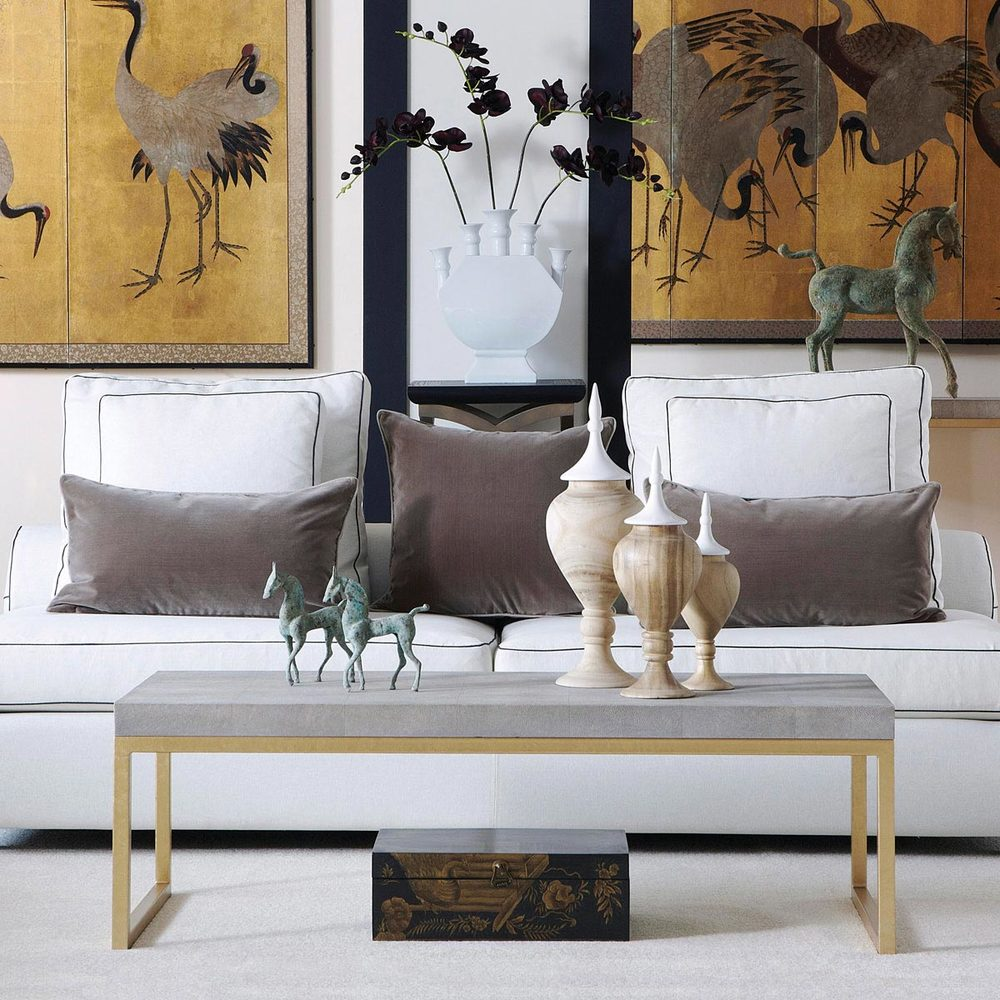 Lantau Faux Shagreen & Gold Coffee Table £835.00  This is an image from Architectural Digest of Nina Griscom's Manhattan Penthouse Apartment; truly a glamorous interior. I love the shagreen and bone accented desk and chair.