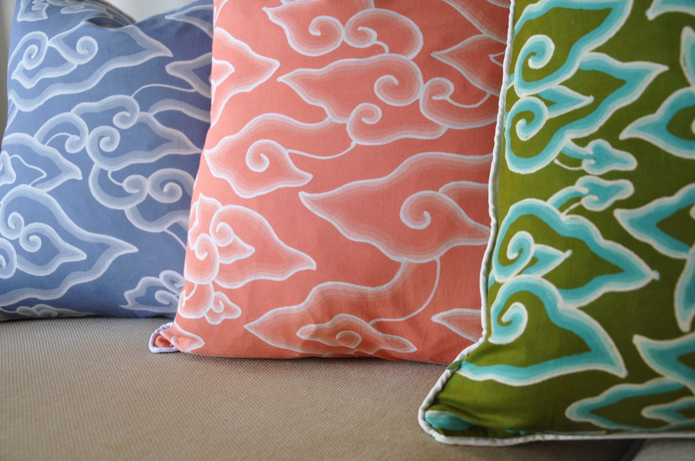 These cotton hand-blocked batik cloud pillows gets me in the mood for the beach.