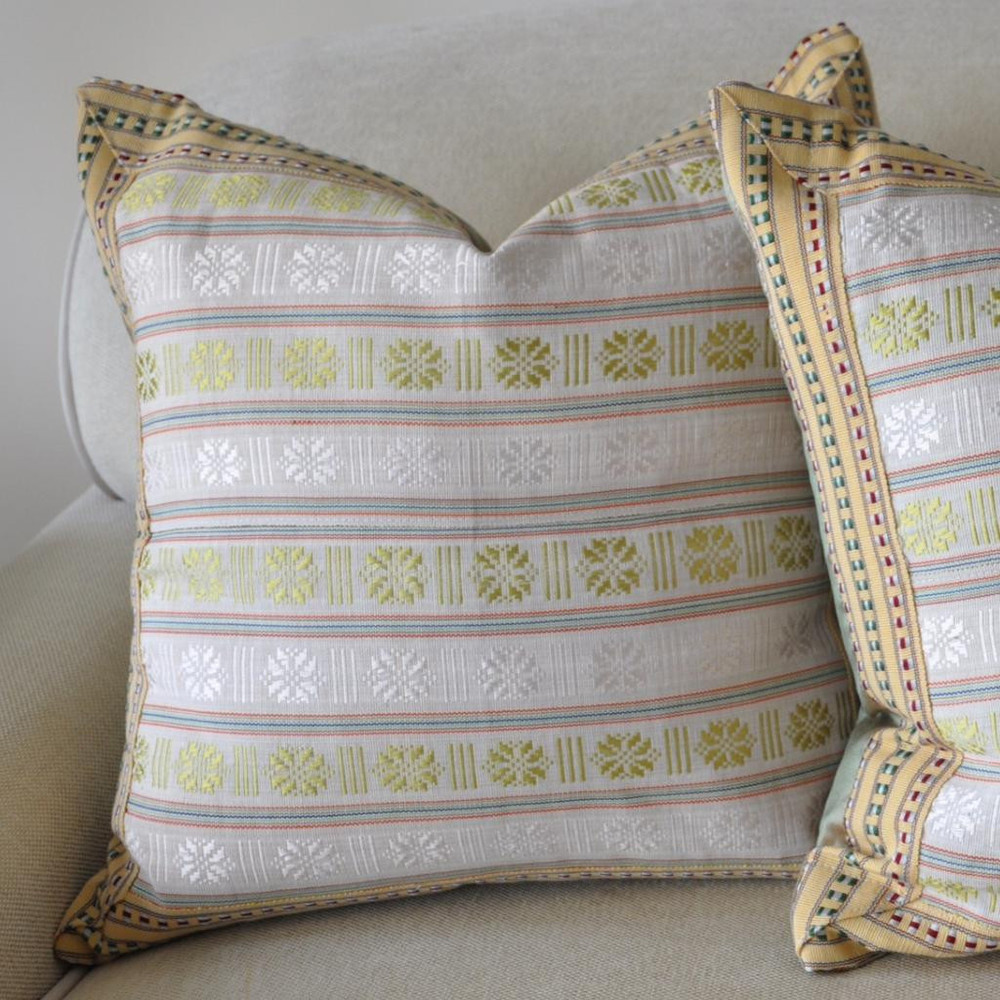 These two different lime pillows are just right for a soft soothing color palette.