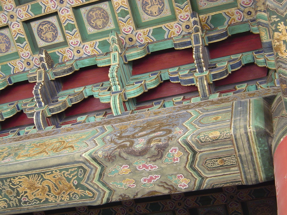 Dragon Painted Ceiling Beams in the Forbidden City, Beijing