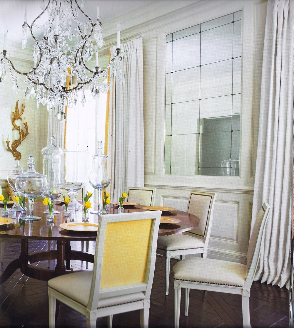"I love the American design magazine   Veranda  .  Click on the picture above for more from interior designer Melanie Turner.  I love this dining room and the rest of the house in the cover story ""Comfortable Glamour"", September 2010.  The yellow contrast back fabric is so fresh yet sophisticated.  Just a little punch of color."