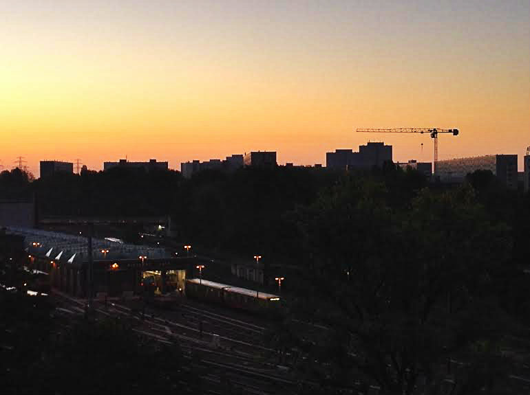 5am  Sunrise in Soviet East Berlin shot from my Garret 79 stairs up high.