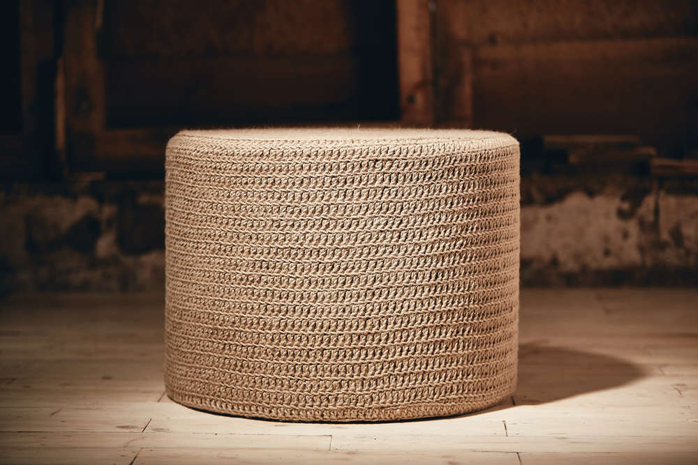 ROUND OTTOMAN     Eco Twine  D600mm x H450mm  High density foam inner cushion, base board, removable fabric lining, hand-crocheted cover