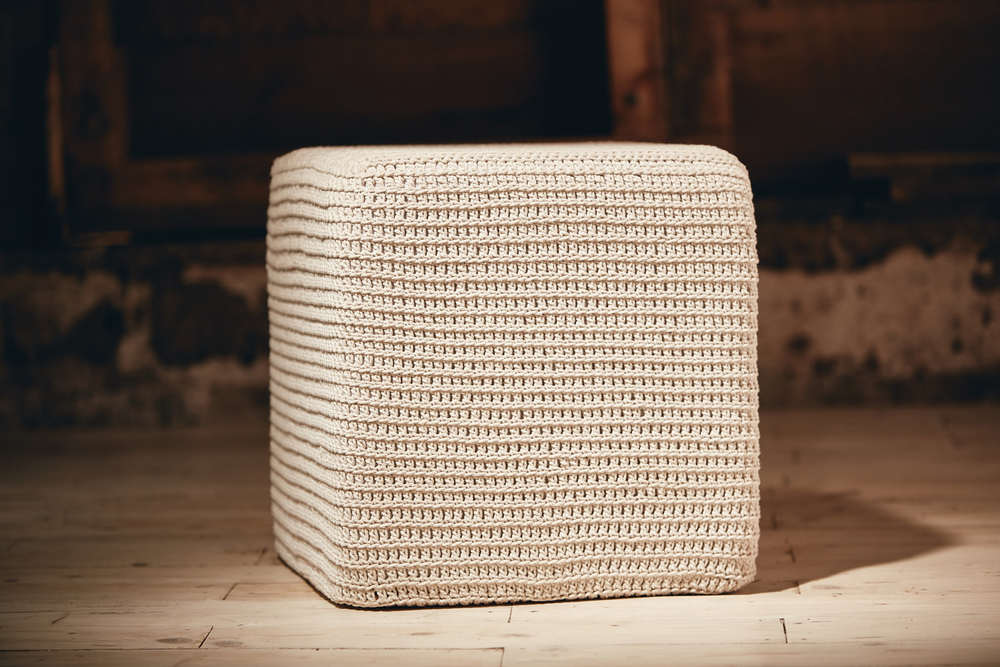 SQUARE OTTOMAN    Eco Twine or Recycled Cotton 600mm x 600mm x 450mm  High density foam inner cushion, base board, removable fabric lining, hand-crocheted cover.