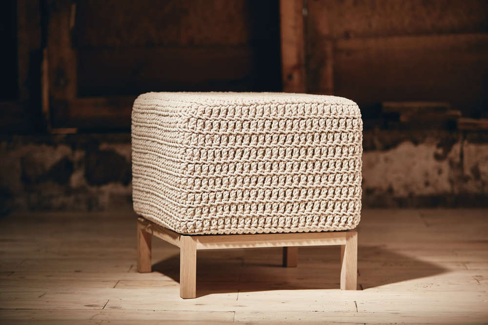 CONTEMPORARY OTTOMAN   - SMALL   Eco Twine or Recycled Cotton 450mm x 450mm x H450mm  French oak base, high density foam cushion, fabric lining, hand-crocheted cover.
