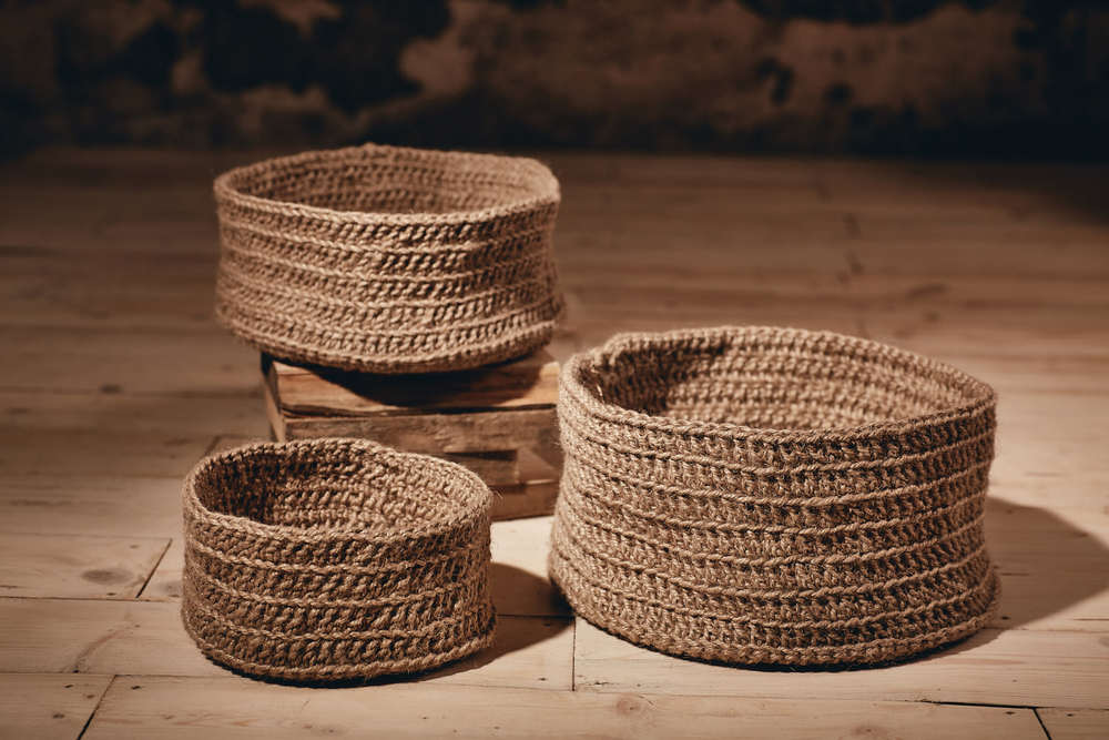 BASKETS    Round, multi-use, hand-crocheted baskets   Eco Twine Available in:  Small - Approx. 23cm x 12cm  Medium - Approx.  30cm x 15cm  Large - Approx. 35cm x 18cm