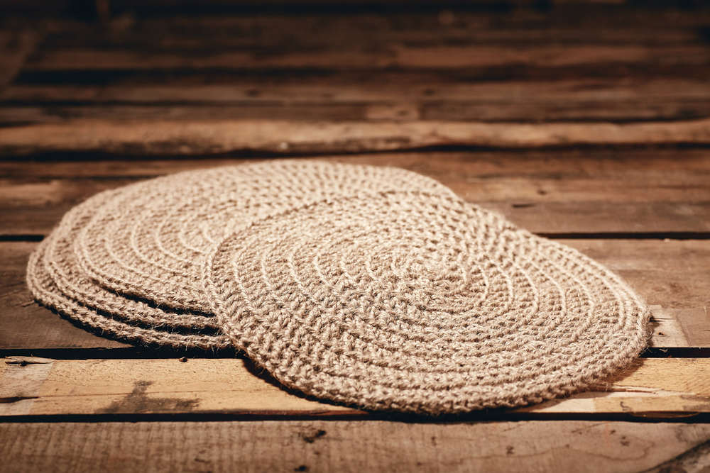 PLACEMATS - LARGE  Eco Twine Set of 4  Hand-crocheted placemats Approximately 35cm in diameter.