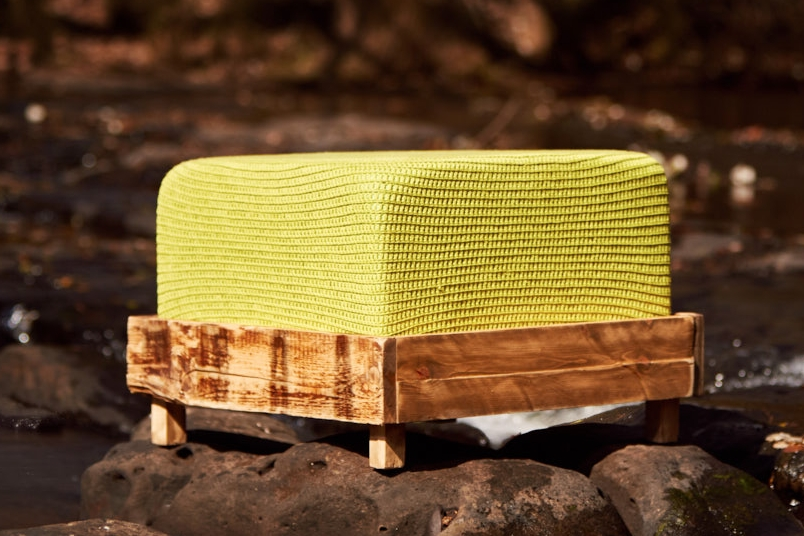 RUSTIC OTTOMAN   - LARGE  Hand-dyed Organic Cotton (Colour Chart Below) 600mm x 600mm x H450mm  Reclaimed cedar base, high density foam cushion, fabric lining, hand-crocheted cover