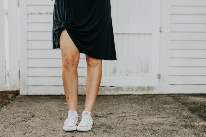 4. knot the dress - This is a fun way to change the function of the dress. It can shorten the length if you would like it shorter. It can create more of a causal look with a pair of chucks.