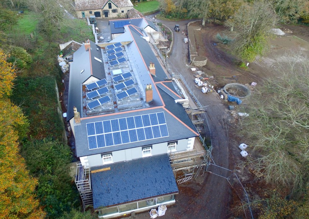 Solar Panels.. This Client was doing a million pound renovation on their country home. They wanted aerial pictures to get and overview of the progress or the new roof that had to be constructed and to keep a record if any problems came up over time.