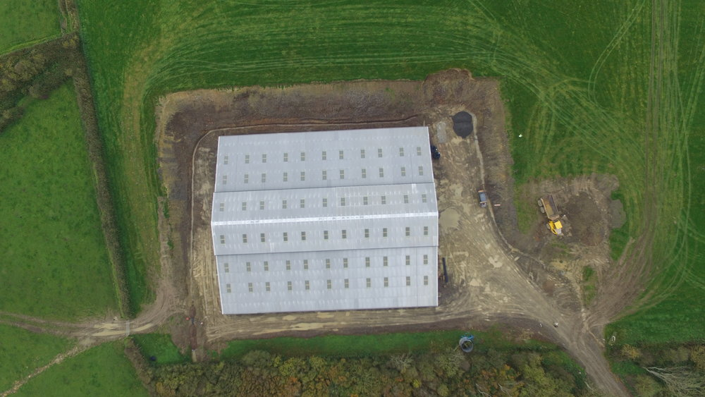 Large overview of Farm building. This client wanted an overview of the new farm shed they had constructed to show investors their progress.