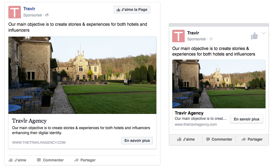 Example of Facebook sponsored ads on different devices, respectively desktop and mobile