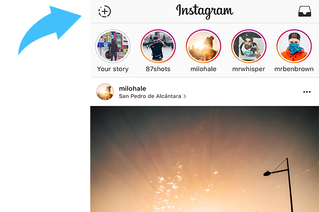 New instagram stories are featured on top of everyone's feed