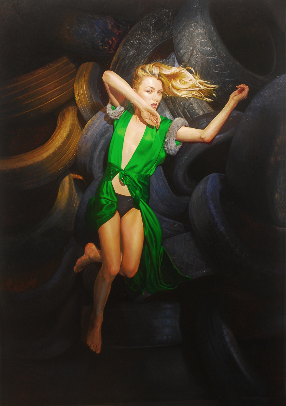 Green Robe on Tire Mountain