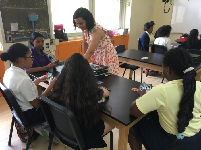 KS Co-Founder Jessica Ochoa Hendrix Playtesting with Girls Prep Students
