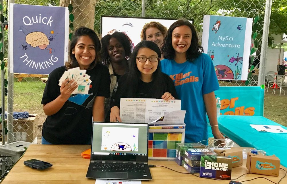Team KS + NYSCI Proudly demo-ing KS games alongside two entirely new games made by these stellar Explainers (left to right: Leah, Mandë, Sam, Yuliya, & Jessica)