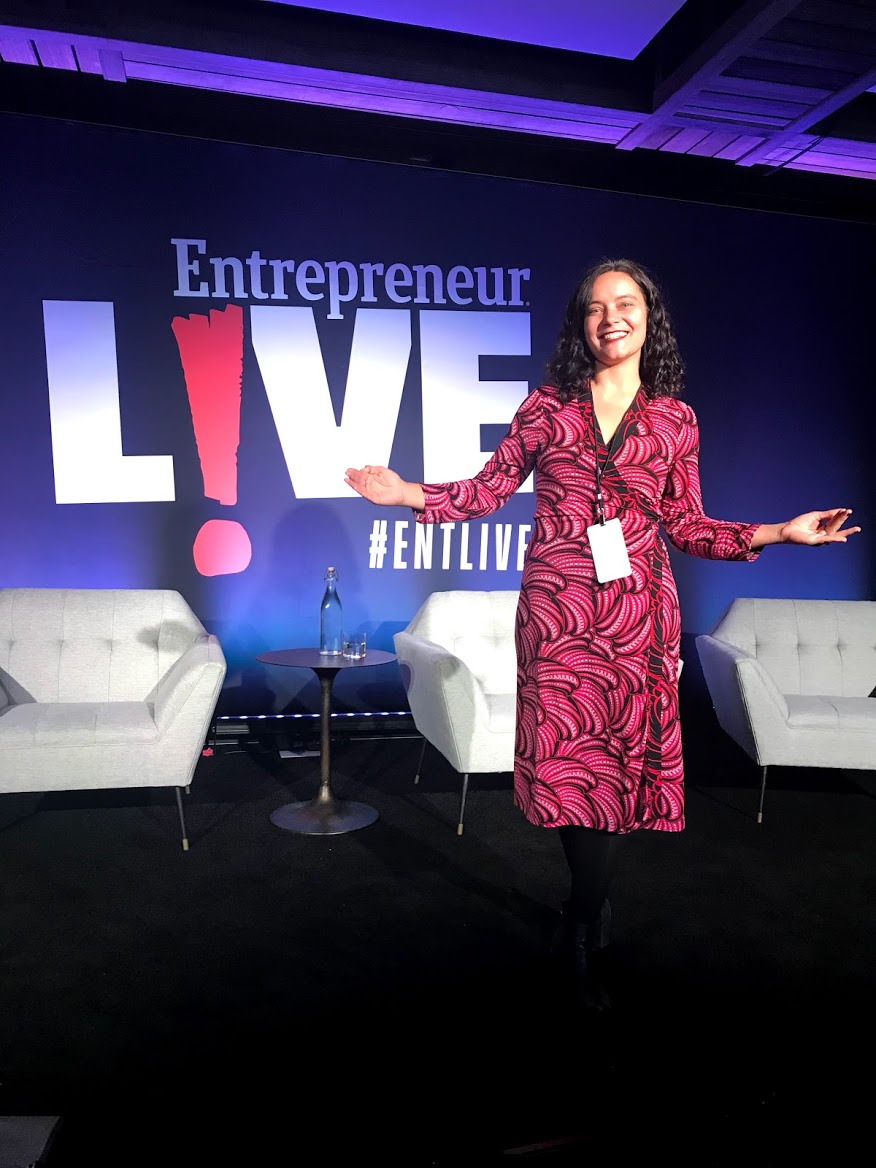 Jessica doing a 90 second pitch at Entrepreneur.com festival